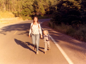 Frances and Gabe walk in Eugene, OR, 1979