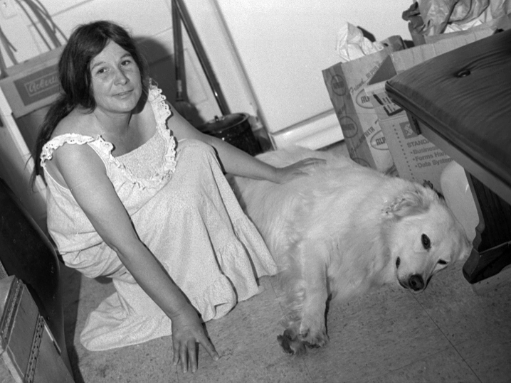 image of Frances & White Dog in Soquel, CA, 1980
