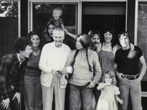 Jack Capps (friend, AKA Joseph Weatherbottom) pumps the shutter bulb to take Frances family shot, 1981
