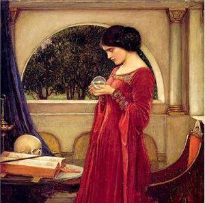 Diotima in red dress